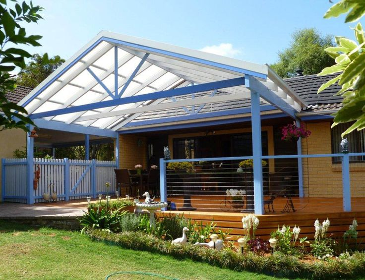 Blue gable roof pergola