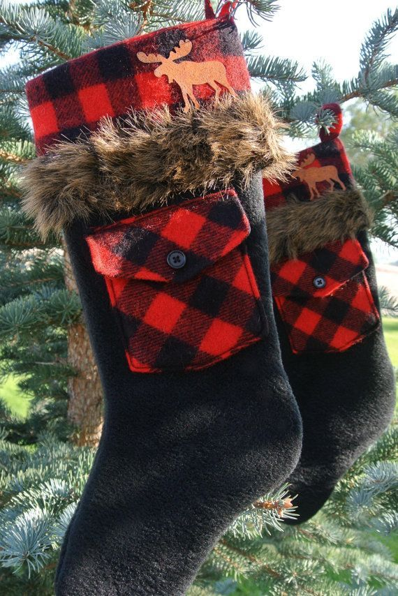Pair of Red & Black Plaid Fur-Trimmed Rustic Christmas Stockings With Rusty Tin Moose