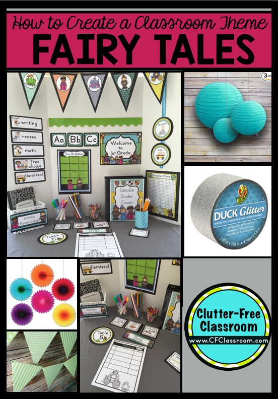 Photos, ideas & printable classroom decorations to help teachers plan & create an inviting Fairy Tale themed classroom on a budget. Lots of free decor tips & pictures.