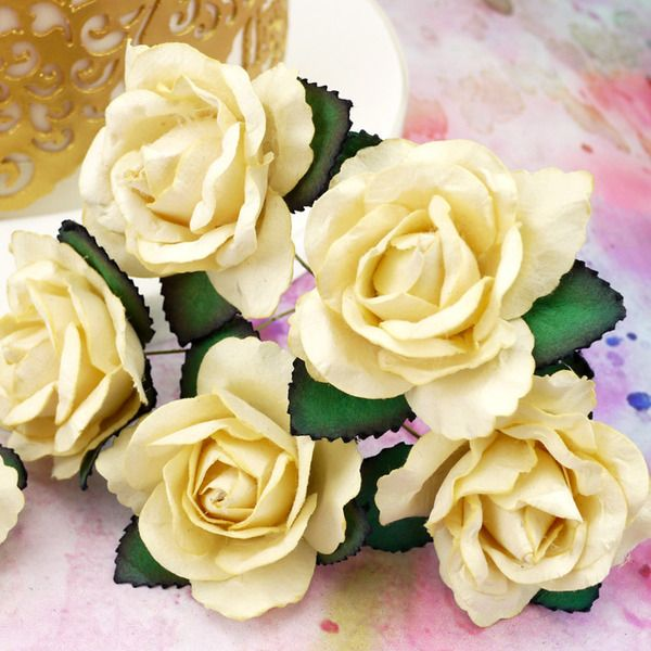 Pack Of 6 Large Ivory Paper Roses