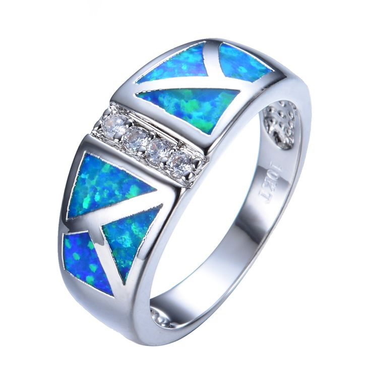 2016 New Easter Fashion Blue Fire Opal Ring White Gold Filled Fashion Jewelry Wedding Rings For Men And Women Gifts RP0015