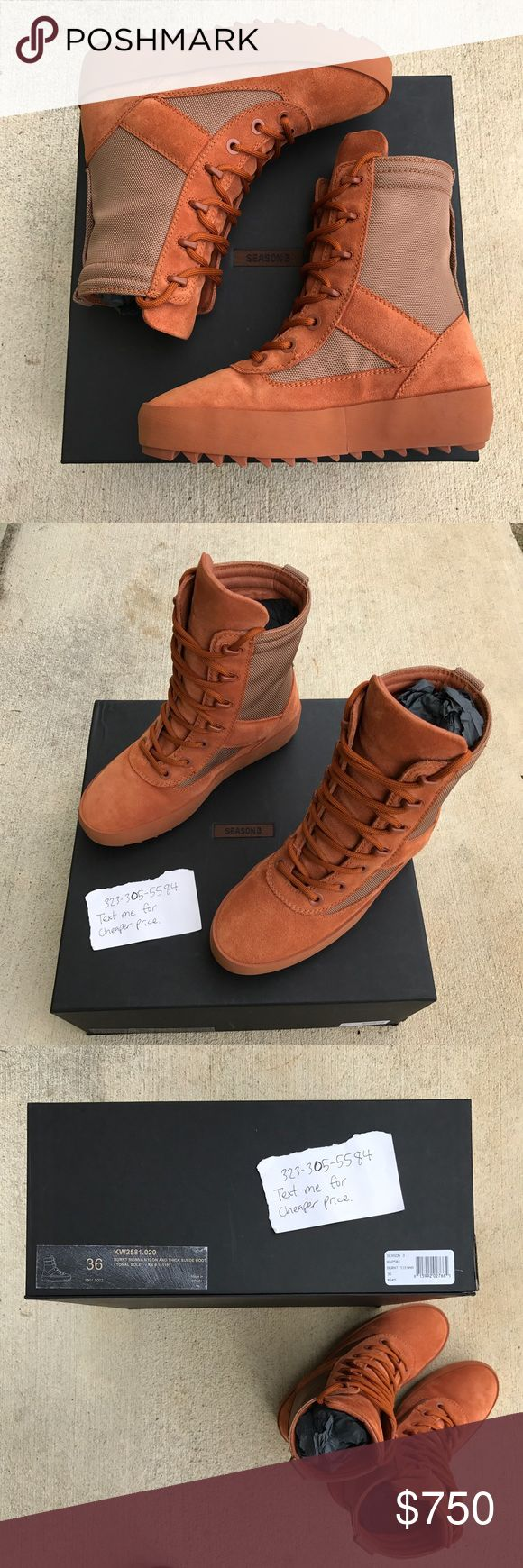Yeezy Season 3 Military Boot - Burnt Sienna sz 36 Brand new, ONLY been tried on and then found out they are to big for me. :( 100% authentic. Can provide picture of email receipt/order. These are size 36 = Women size 6. (These are sold out everywhere. Feel free to message me 323.305.5584 for a cheaper price.) Yeezy Shoes