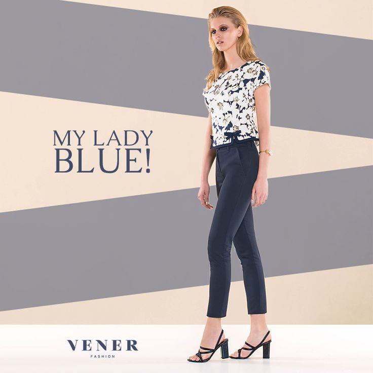Κομψότητα σε ένα μπλε σύνολο από τη VENER! Καλή εβδομάδα! #vener #fashion #blue