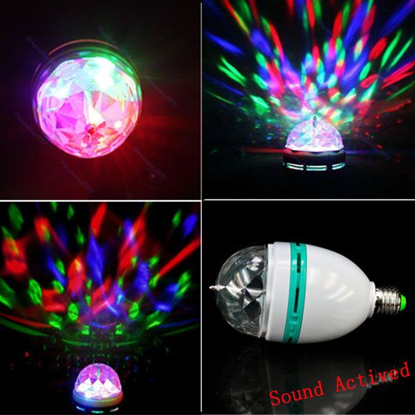 Auto Rotating Sound Activated LED Disco Light Bulb Lamp
