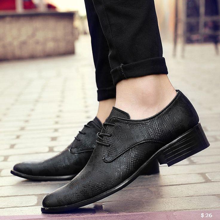 US $26 Genuine Leather Men Dress Shoes Luxury Men's Business Casual Shoes Classic Gentleman Shoes
