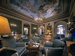 The guest lounge in the hotel where Laura first meets Philippe.