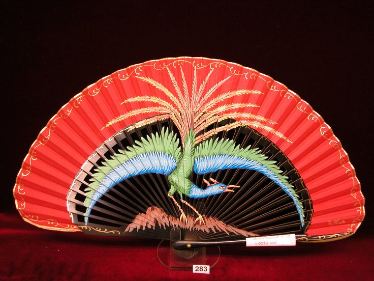 Abanico de madera de peral pintado a mano: Pájaro.