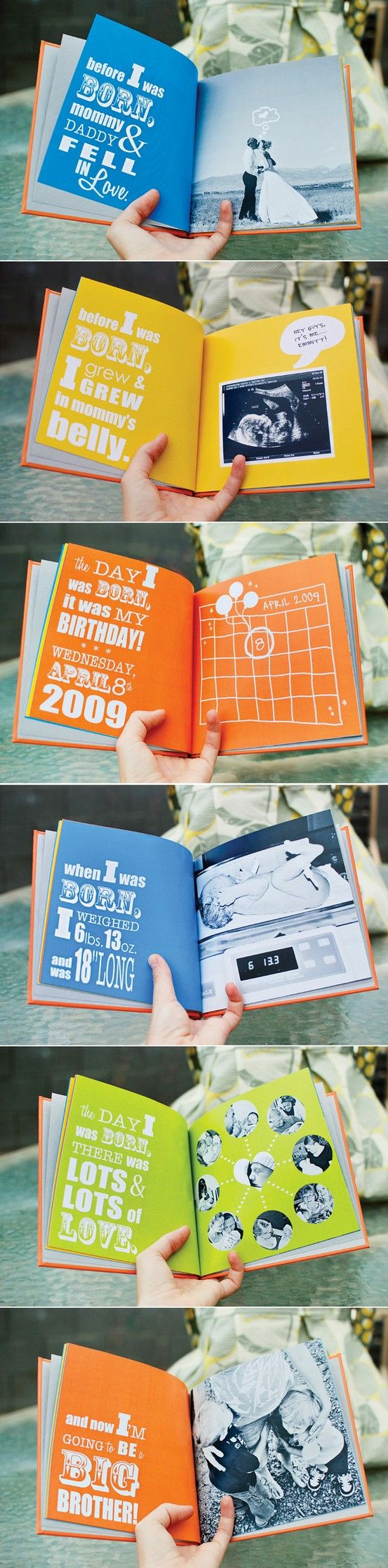 "Adorable!!  7 Baby Photo Book Ideas My boys loved the ""when they were born stories"". Making it into an actual book....love it"