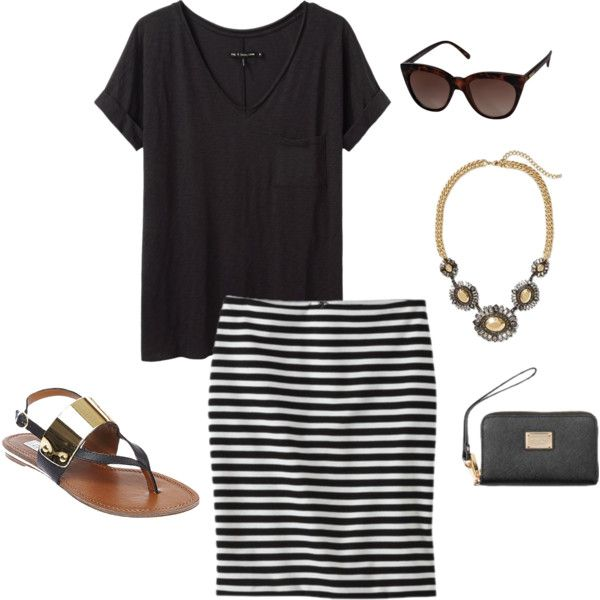 """Striped Skirt Outfit 1"" by thieli02 on Polyvore"