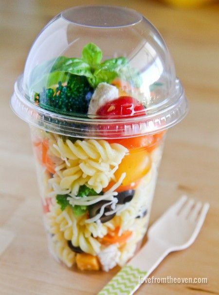 Packing for a picnic?  What a great way to pack up your pasta salad, or other foods, to go.  Perfect single servings!