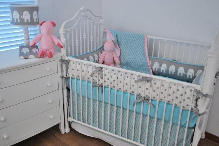 Aqua Diamonds Grey Elephants And Baby Pink Nursery
