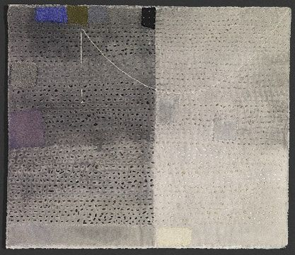 "'The Place Where Night is Day': Dorothy Caldwell: 2011: wax resist & silkscreen discharge on cotton with stitching and appliqué: 18 1/4"" x  24 1/4"""