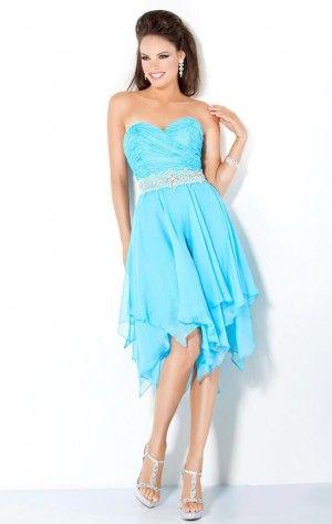 Affordable A-line Knee-length Sweetheart Blue Chiffon Dress