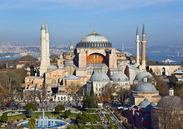 Istanbul aerial view Aya sofya