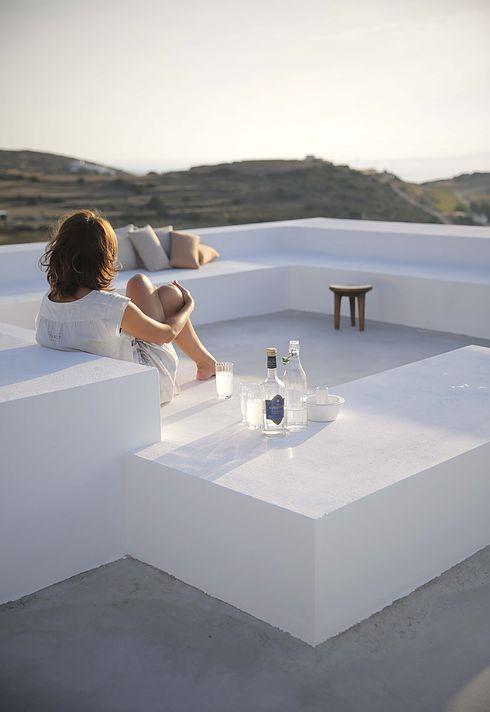Terrasse style méditerranéenne, toit terrasse, rooftop, Maroc, Grèce