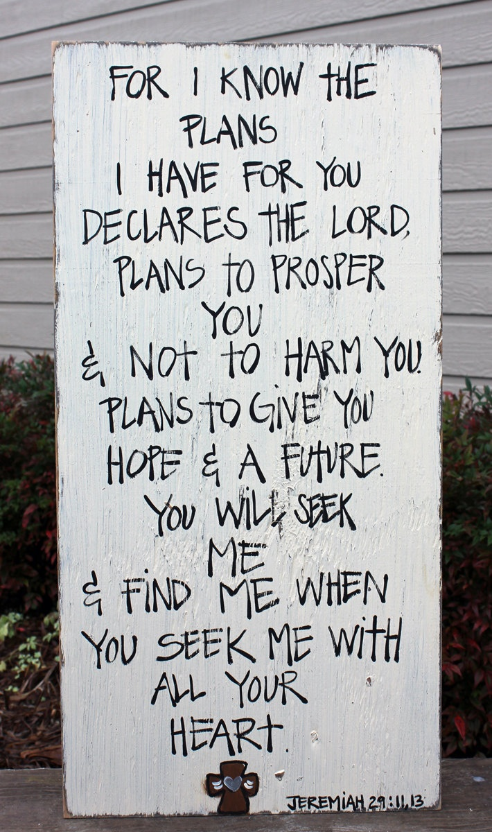 """Wooden Signs, Wood Signs, Hand Painted, Shabby Chic, Wood Art, Distressed Wood Sign Art: """"Jeremiah 29 11,13 with Cross"""". $45.00, via Etsy."""