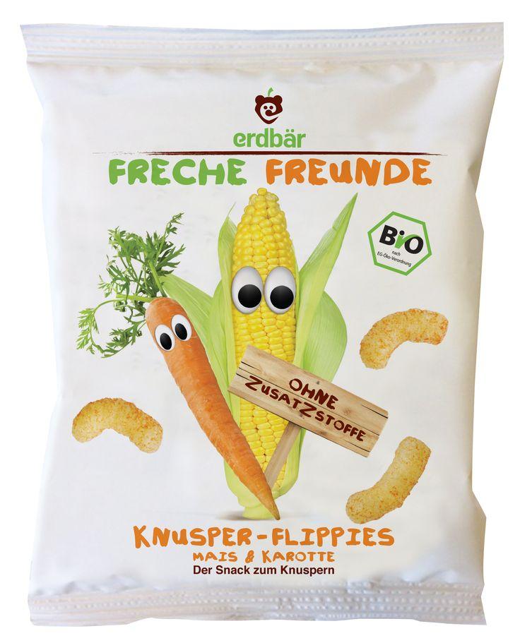 """Die knusprigen Flippies der Frechen Freunde mümmeln sich ganz besondern gut! Das haben Karl Karotte und Marc Mais zusammen einfach super hinbekommen! Kurz """"gepufft"""" schmecken die Flippies karottig gut!"""