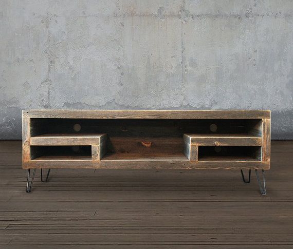 Reclaimed Wood Media Console Television Stand by AtlasWoodCo