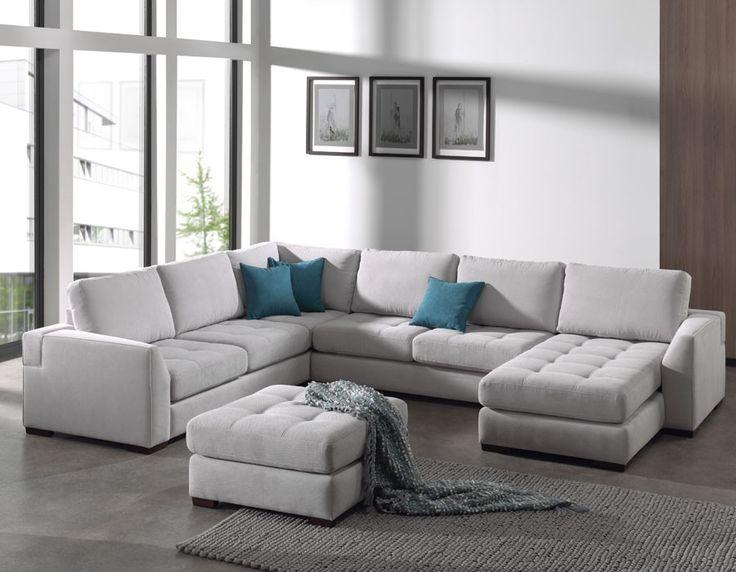 Canapé panoramique gris en tissu ROXANE