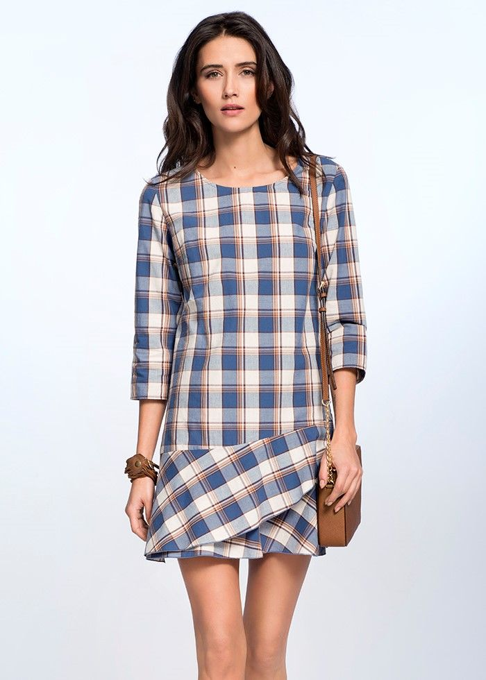 FRILL CHECKED DRESS €119.00 Charming dress with asymmetric frill emphasises the slenderness of female silhouette. The dress is made out of high quality checked cotton which gives it a sporty,
