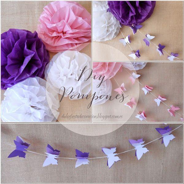 DIY Pompones de papel y guirnaldas Mariposas | Decorar tu casa es facilisimo.com