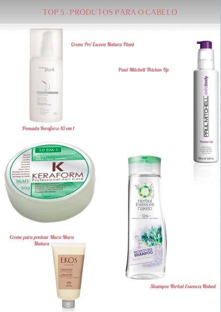 TOP 5 - produtos para o cabelo - Natura   Herbal Essences   Ekos   Paul Mitchell  Keraform