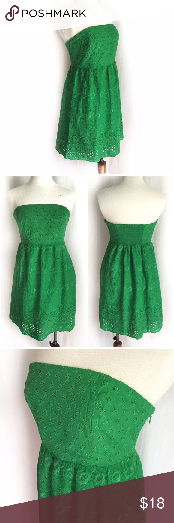 "Old Navy Eyelet Tube Dress Kelly green dress described by Old Navy as ""Tube top style bodice with smocked panel in back and empire waist. Embroidered flowers and eyelet accents. Hidden zipper along left side. Soft, lightweight cotton cambric, with voile lining. Adhesive gripper tape holds dress up. Slightly fitted through body. Dress hits above knee."" 100% cotton outer/lining. Machine wash. Size 6 Petite. Bust: 14.5"" flat across, unstretched. Waist: 13.5"" across. Length: 25"" from underarm to…"