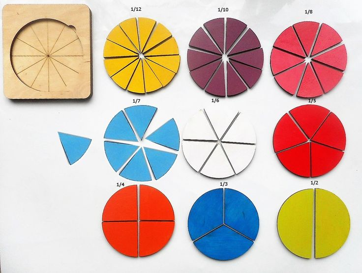 Fractions Wooden educative game for learning basic math principles