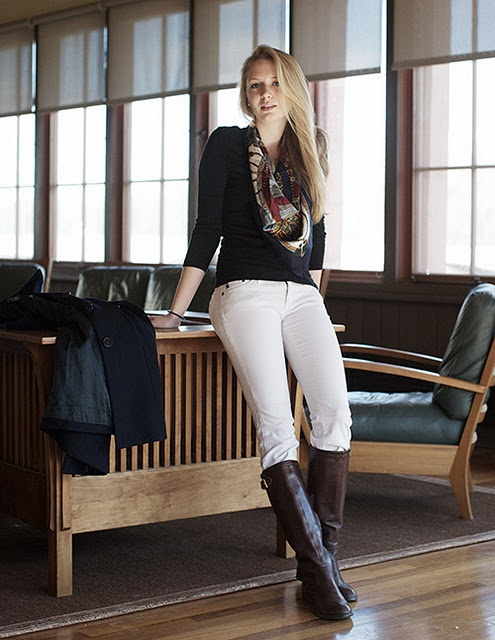 white jeans and boots with scarf