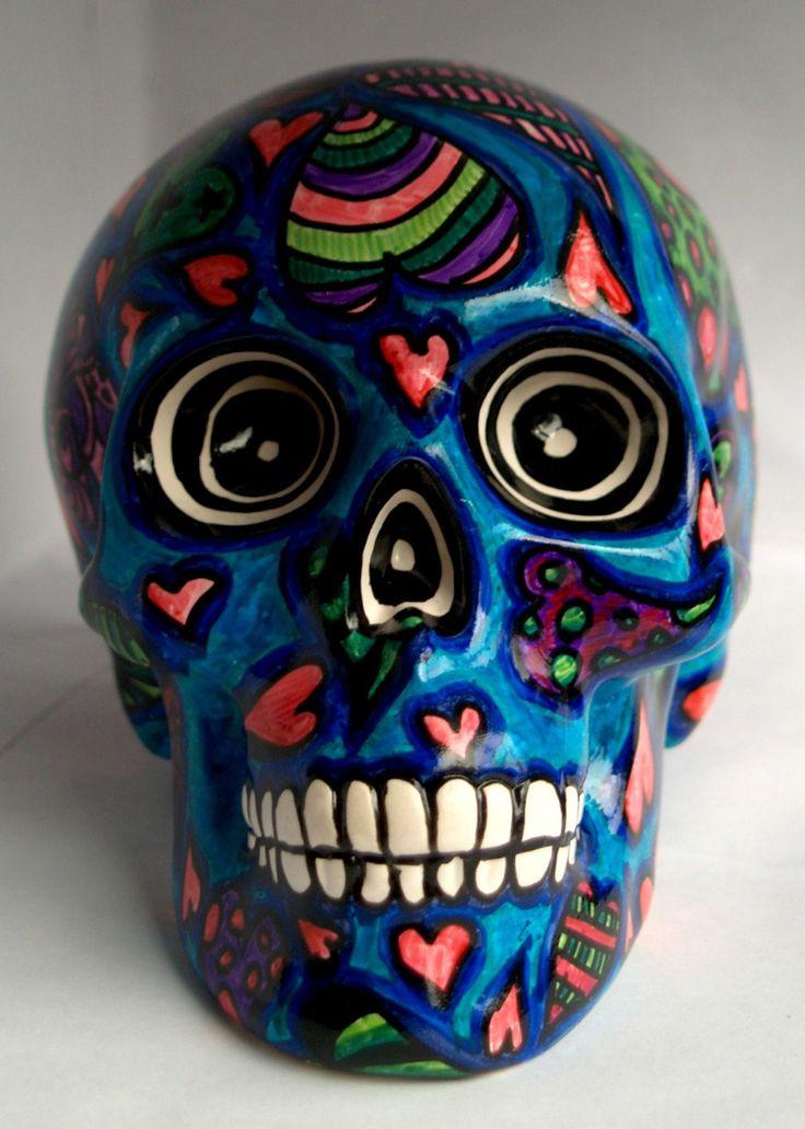 Sugar Skull Money Box-Día de Muertos Skull Money Box-Ceramic Money Box-Money Tin-3D Sugar Skull-3D Skull-Heart Skull-I Heart You by ArniesArtwork on Etsy