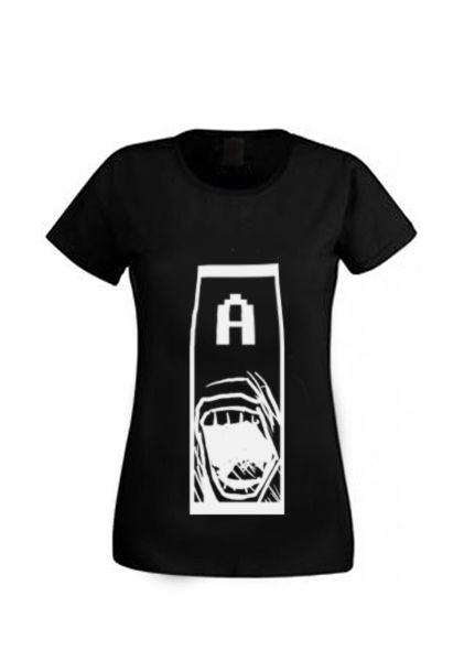 """Cool awesome girl t-shirt, woman shirt with """" A ! """" illustration.  Facebook- Tooba Posters Etsy- toobaposters #shirt #cloth #clothing #girl #woman #handmade #t-shirt #black #white #cool #nice"""