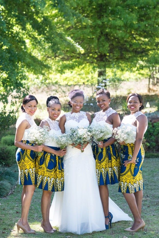 Bridesmaids in colourful African print skirts   SouthBound Bride   http://www.southboundbride.com/sunny-african-print-wedding-at-the-glades-by-cc-rossler-tumi-moe   Credit: CC Rossler