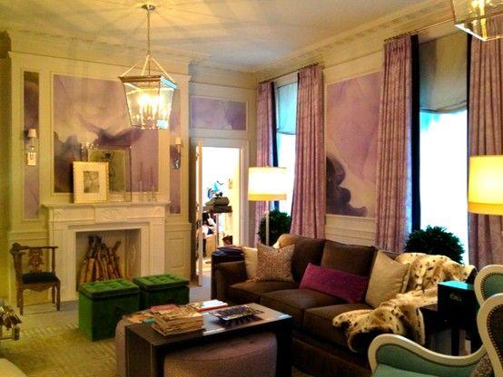 green + purple: Color Rooms, Green Ottomans, Emeralds Green, Purple Lavender, Watercolor Walls, Purple Passion, Green Chairs, Lavender Living Rooms, Green Decor