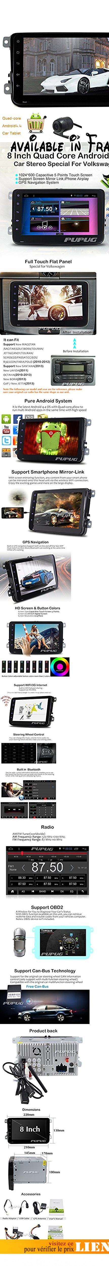 HD cam¨¦ra de recul de 8 pouces 1024 * 600 Quad-core Android4.4 Lollipop Autoradio Double Din Car Stereo avec Autoradio Bluetooth pour Golf Jetta Passat Scirocco Caddy No-lecteur DVD de voiture soutenir Navigation GPS Bluetooth 3G WIFI CAM-IN OBD2 1080P Canbus 2 din Headunit. CamšŠra HD šŠtanche inclure dans la stšŠršŠo, soit la sšŠcuritšŠ lorsque parking.1024 * 600 Android4.4 Lollipop Quad Core 1.6GHz, RAM: 1 Go, ROM: sortie 16GB, Audio: 4 * 50W max, vous pouvez