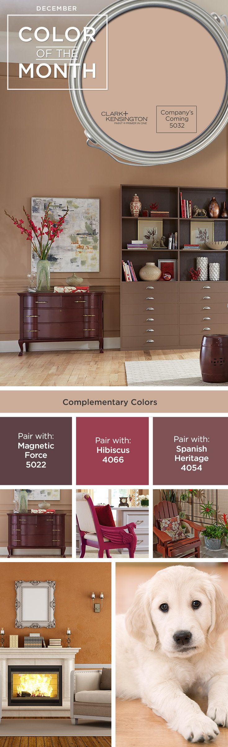 Company's Coming is the December Clark+Kensington Color of the Month. This paint color matches perfectly with any home décor.