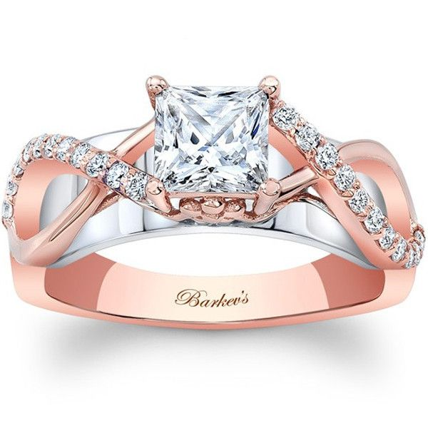 "Barkevs 14K White & Rose Gold Princess Cut ""Twist"" Diamond Engagement Ring Featuring 0.22 Carats Round Cut Diamonds. Style 8018LTW"