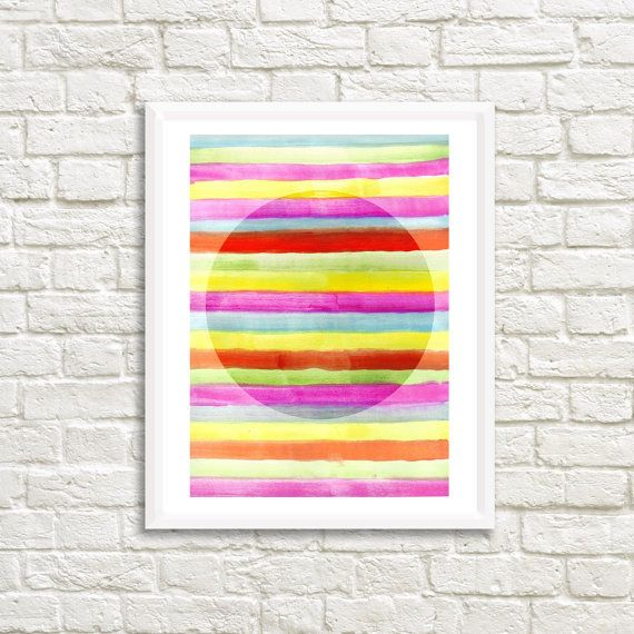 Colorful Stripes and Circle Art High by LittleLotusFlowers on Etsy