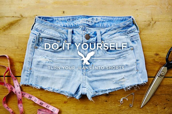 American Eagle teaches us how to turn our jeans into shorts!  I would buy jeans from Goodwill and give it a try.  That'd give me tons of cheap summer shorts