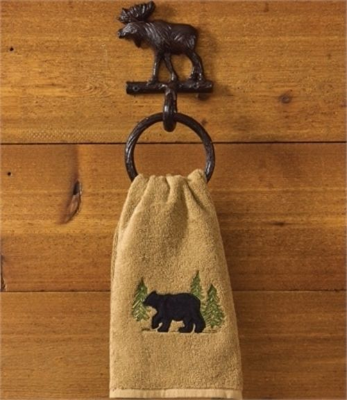 Cast Iron Moose Ring Hook Towel Holder, Lodge Cabin Bathroom Decor