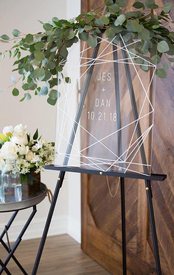 Wedding Welcome Sign Clear Acrylic Glass Look Welcome Sign, Geometric Lines Modern Minimalist Acrylic Wedding Sign (Item – GCW640)