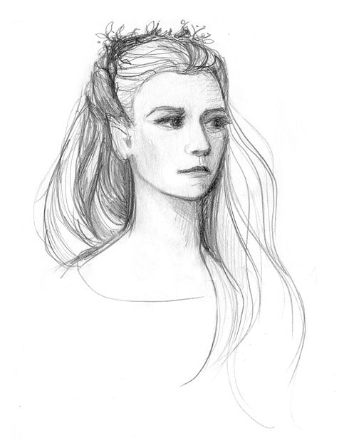 This is how I imagine Thranduil's wife and Legolas' mother: golden haired Sindar elf. Queen of Mirkwood by februarymoon.deviantart.com #Thranduil #elves #drawing