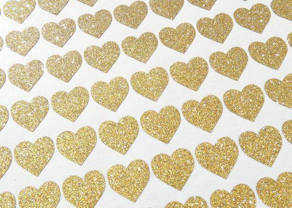 150 tiny gold glitter Heart stickers wedding by PolkaDotssandMore