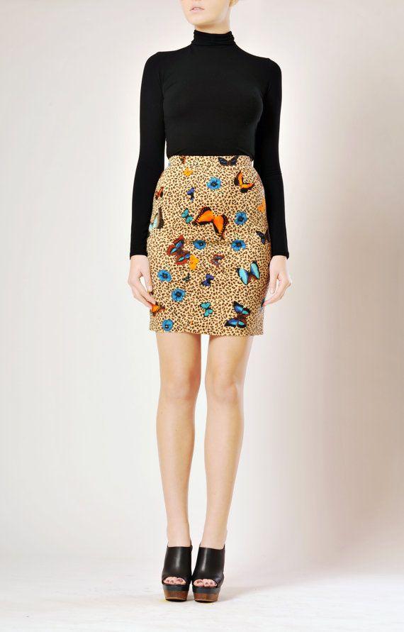 KENZO 1980s / printed mini skirt