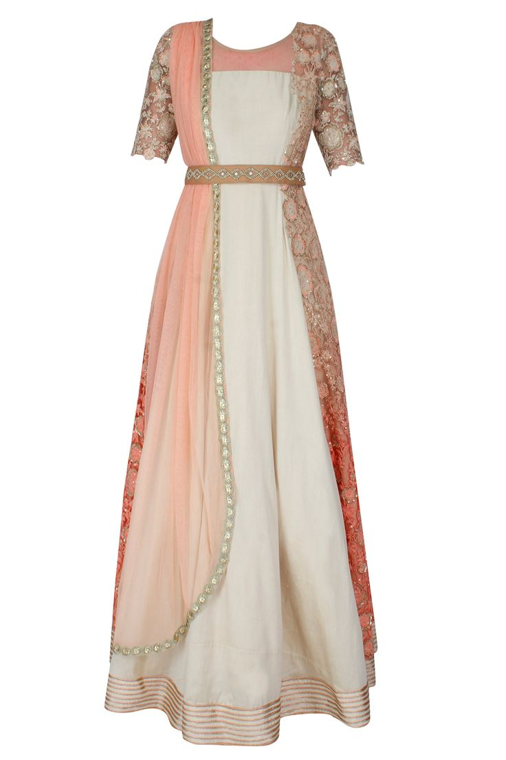 Off white thread floral embroidered anarkali with detachable leather belt set available only at Pernia's Pop Up Shop.