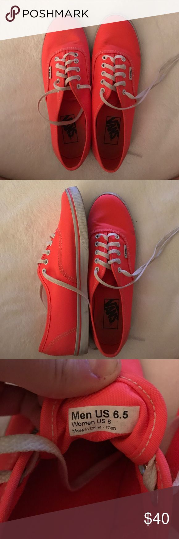 Women's Hot Pink/Coral Vans Like new. Worn 1 time, just aren't my style. Vans Shoes Sneakers