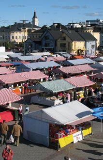 Marketplace in Oulu, Finland