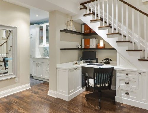 Lovely desk, and great use of the small space under the stairs (which is frequently dead space)
