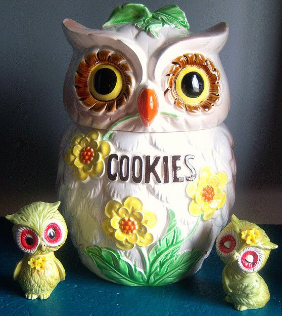 owl, colorful, funky,   cookie jar, kitchen, green, white, brown, flower, ceramic