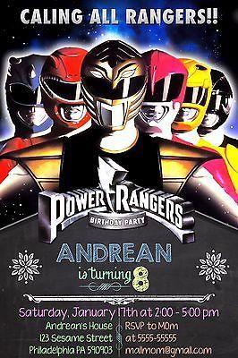 Mighty Morphin Power Ranger Birthday Digital Invitation