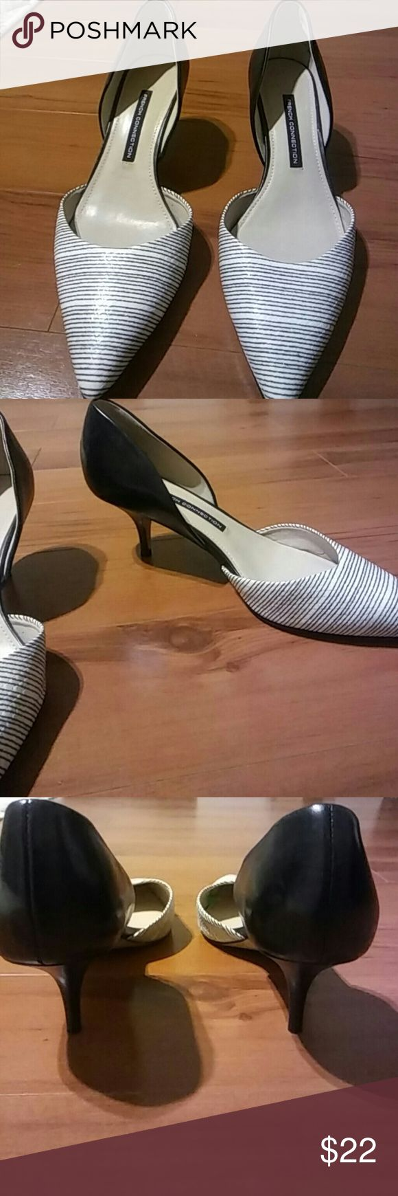 Shoes by French Connection Black and white heels. Very comfortable. Has been worn but is still in good condition. French Connection Shoes Heels